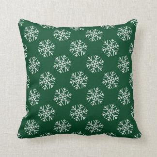 Coussin Flocons de neige de Noël sur le carreau vert