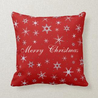 Coussin Flocons de neige de rouge de Joyeux Noël