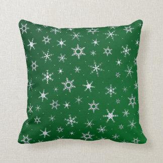 Coussin Flocons de neige verts