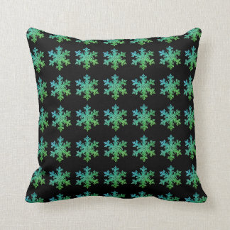 Coussin Flocons verts de neige