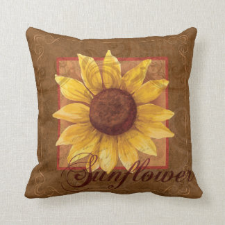 Coussin floral de décor de collage de tournesol