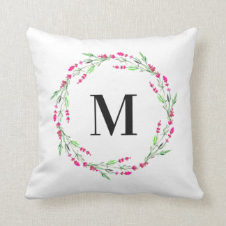 Coussin floral de guirlande de monogramme