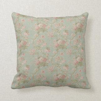 Coussin Floral vintage élégant s'est levé, vert et rose