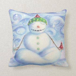 Coussin Froid, carreau de bonhomme de neige de yoga par