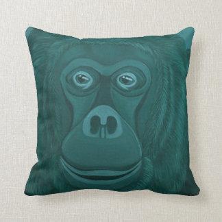 Coussin Gorille violet et carreau vert d'orang-outan