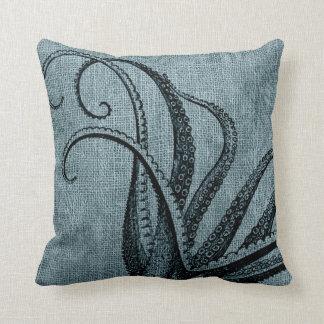 Coussin Gris bleu de poulpe de noir vintage de tentacules