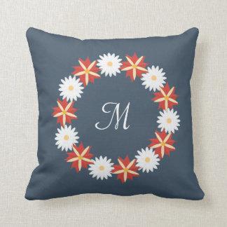 Coussin Guirlande florale élégante - monogramme
