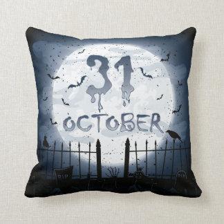 Coussin Halloween cimetière scènes 31 octobre