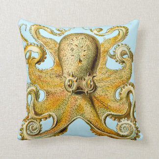 Coussin hanche d'or de sérénité rétro d'abrégé sur bleu