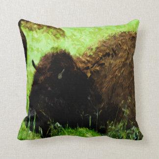 Coussin Impressionisme sauvage d'abrégé sur bison