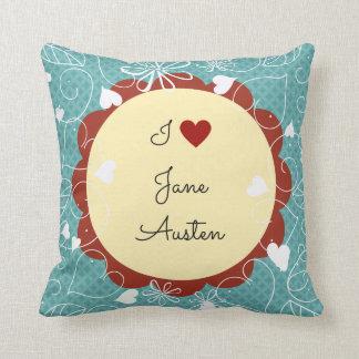 Coussin J'aime le motif de vert de Jane Austen