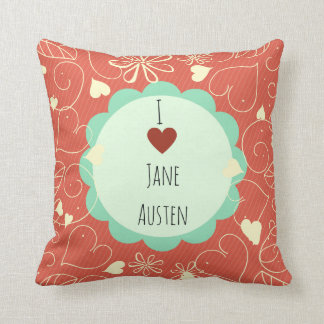 Coussin J'aime le motif orange de Jane Austen