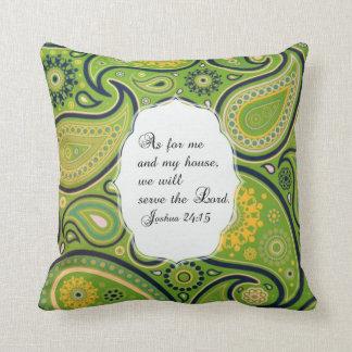Coussin jaune vert de vers de bible de motif de