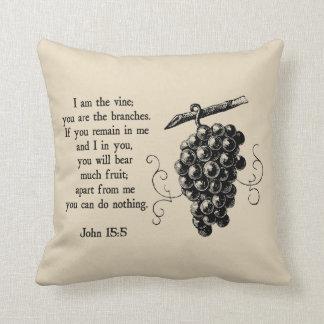 Coussin Je suis le carreau décoratif chrétien de vigne