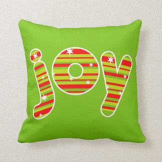 Coussin JOIE aux rayures de Noël, rouges et vertes