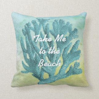 Coussin Joli thème de corail de plage d'aquarelle de bleu