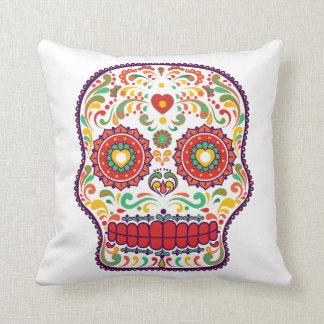 Coussin Jour de Calavera (iii) du crâne mexicain mort de