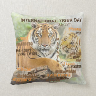 Coussin Jour international de tigre, le 29 juillet, art de