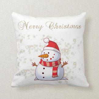 Coussin Joyeux Noël, bonhomme de neige, étincelles,