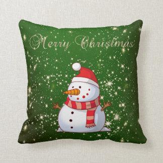 Coussin Joyeux Noël, bonhomme de neige, étincelles, vertes