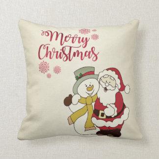 Coussin Joyeux Noël, le père noël, bonhomme de neige