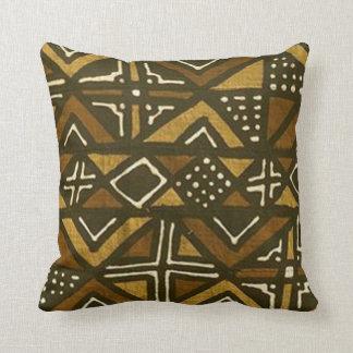Coussin kenyan de motif de tissu de boue