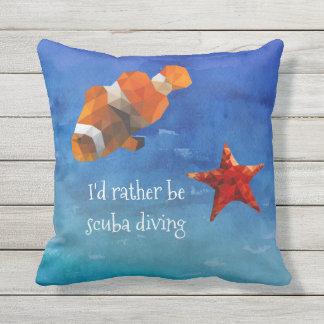 Coussin La vie d'océan avec les poissons et les étoiles de