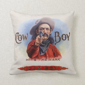 Coussin L'art vintage d'étiquette de cigare, cowboy frappe