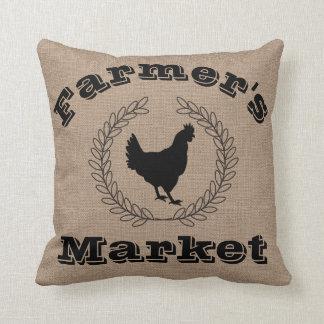 Coussin Lauriers et poule de noir du marché de