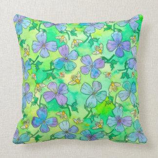 Coussin Le bleu de bigorneau fleurit des abeilles