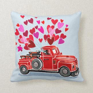 Coussin Le camion vintage de Valentine ajoutent le nom