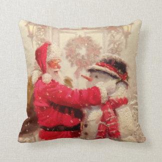 Coussin Le père noël et Noël de bonhomme de neige
