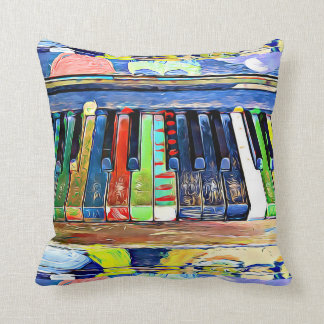 Coussin Le piano coloré peint verrouille le carreau