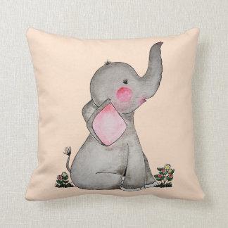 Coussin L'éléphant mignon de bébé d'aquarelle avec