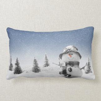 Coussin lombaire de scène de bonhomme de neige