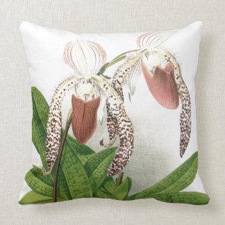 Coussin L'orchidée botanique de Cypripedium fleurit le