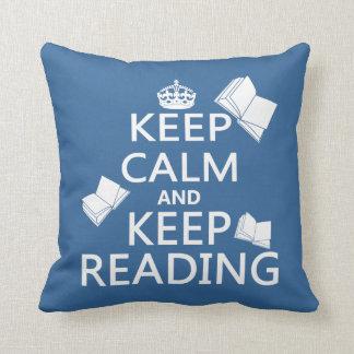 Coussin Maintenez calme et continuez la lecture