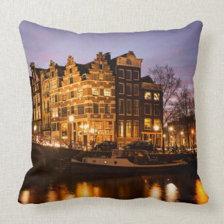 Coussin Maisons de canal d'Amsterdam au carreau de