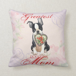Coussin Maman de coeur de Boston Terrier