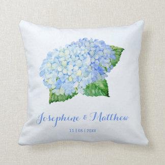 Coussin Mariage bleu d'hortensia