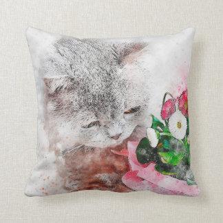 Coussin Médias chaton et fleurs de mélange d'aquarelle