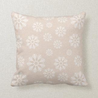 Coussin Motif blanc de flocons de neige d'hiver vintage