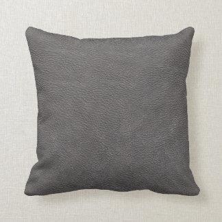 Coussin Motif en cuir gris de texture d'impression