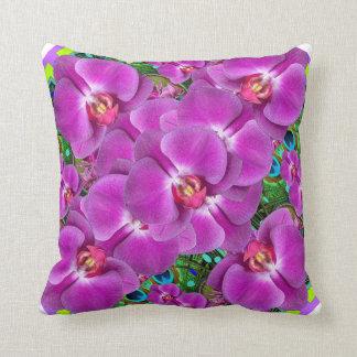 Coussin Motif Fuchsia-Rose de vert de Quatre d'orchidées