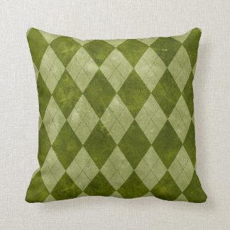 Coussin Motif géométrique à motifs de losanges vert moussu