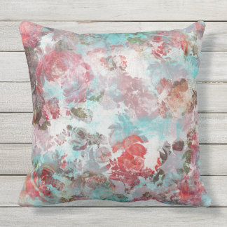 Coussin Motif turquoise floral rose chic romantique