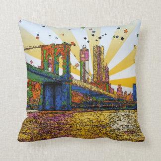Coussin New York City psychédélique : Pont de Brooklyn,