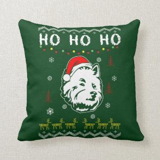Coussin Noël laid Terrier de chien blanc de Westie Ho Ho