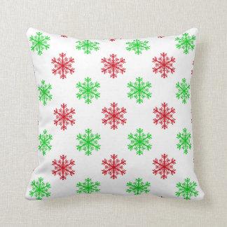 Coussin Noël rouge et vert de motif de flocon de neige