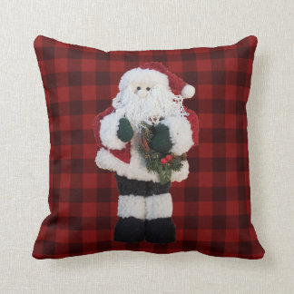 Coussin Noël rustique de plaid de contrôle de Buffalo du